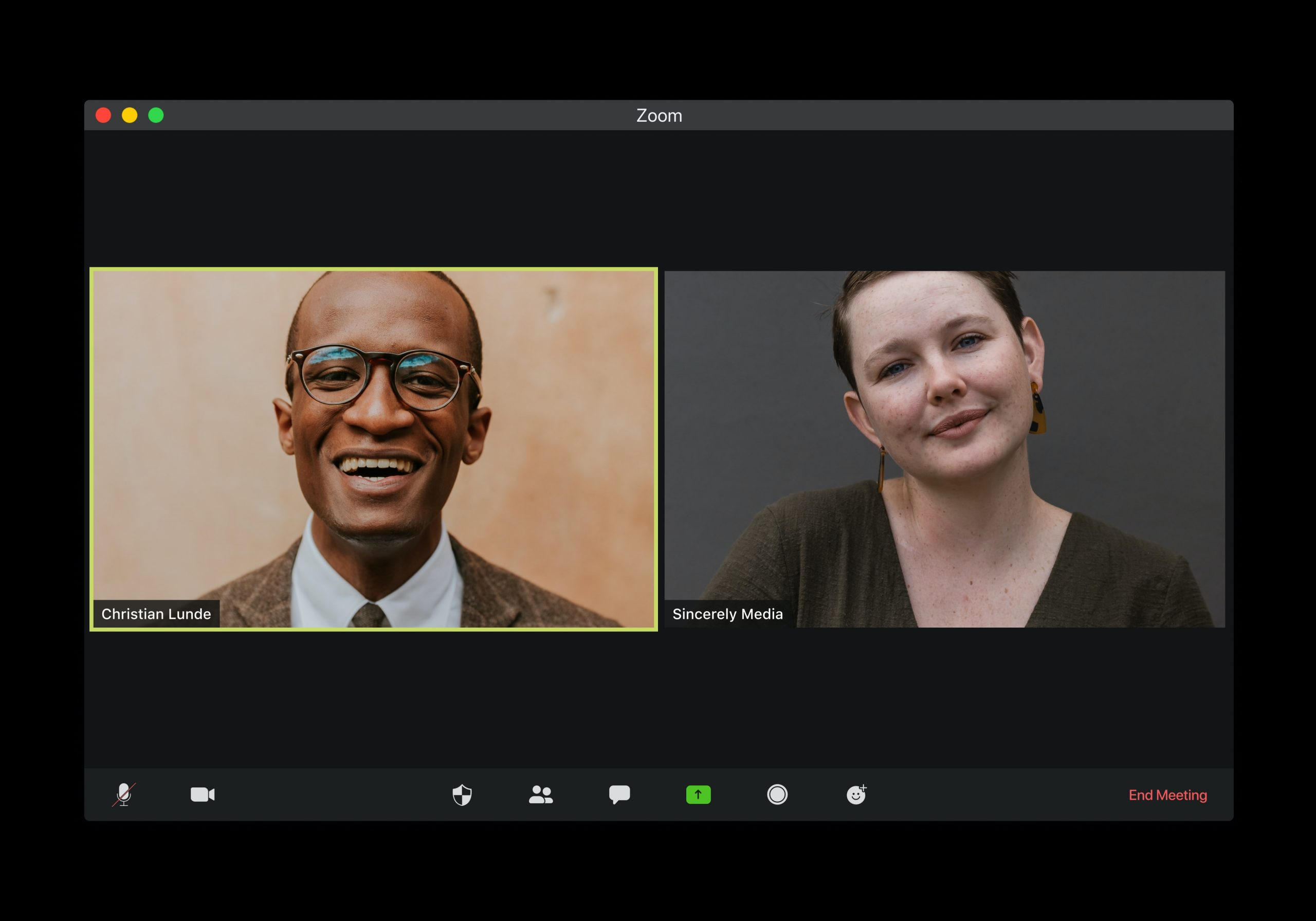 man and woman on zoom meeting